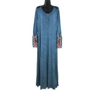 Soft Surroundings Ava Maxi Dress Embroidered Cuffs